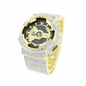 G-Shock Gold Tone G Shock Watch Mens Ga110gb Icy Digital Analog Custom Watch