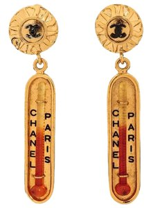 Chanel Rare 1970's Chanel Vintage Collectors Gold Thermostat Drop Earrings