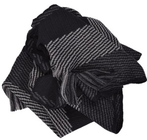 Hugo Boss Boss Hugo Boss Famino Grey and Black Striped Script Logo Scarf