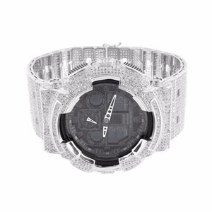 G-Shock Mens Iced Out G Shock Watch Ga100-1a1 Silver Bezel Band Black Face