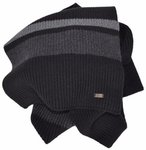 Hugo Boss Boss Hugo Boss Men's Esar Black Grey Merino Wool Plaque Logo Scarf