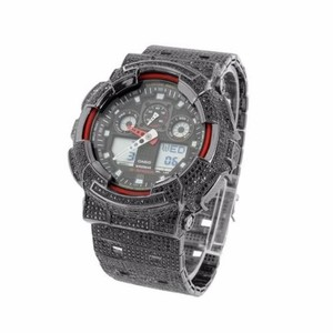 G-Shock G Shock Mens Icy Watch Black Cz Black Pvd Digital Analog Ga100-1a4