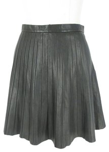 Theory Leather Pleated New Mini Skirt Black