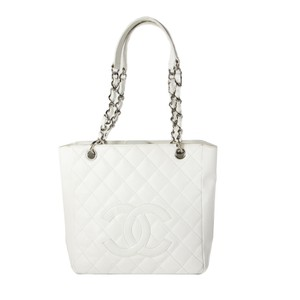 Chanel Caviar Chain Cc Quilted Silver Tote in White