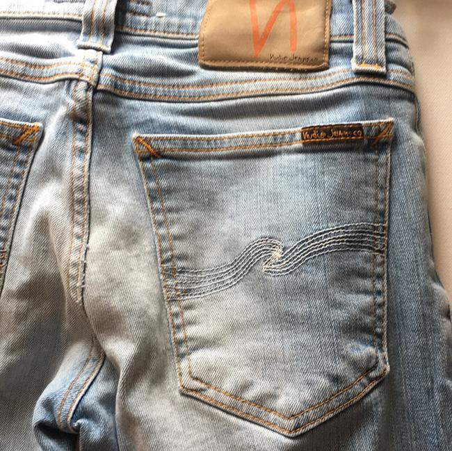 nudie Soft Distressed Buttery Skinny Jeans-Light Wash