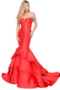 Jovani Mermaid Jeweled Off Prom Dress