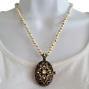 MONET Antique Victorian Inspired Pearl Locket Pendant Necklace