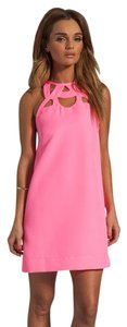 Diane von Furstenberg Shift Cutout Graduation Neon High Neck Dress