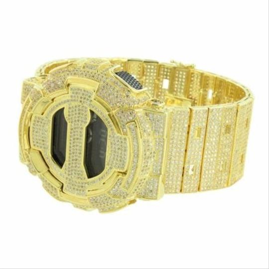 G-Shock Mens Gold Tone G Shock Watch Iced Out Custom Bezel Band Ga100-1b