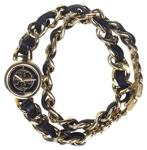 Tory Burch WATCH - DOUBLE TOUR BRACELET BLACK LEATHER GOLD CHAIN STAINLESS STEEL