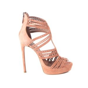 ALAÏA Geometric Strappy Suede Nude Sandals Tan Pumps