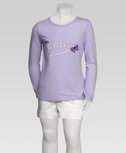Gucci Lilac W Kids Long Sleeve Top T-shirt W/Butterfly Embroidery 4 258571 Groomsman Gift