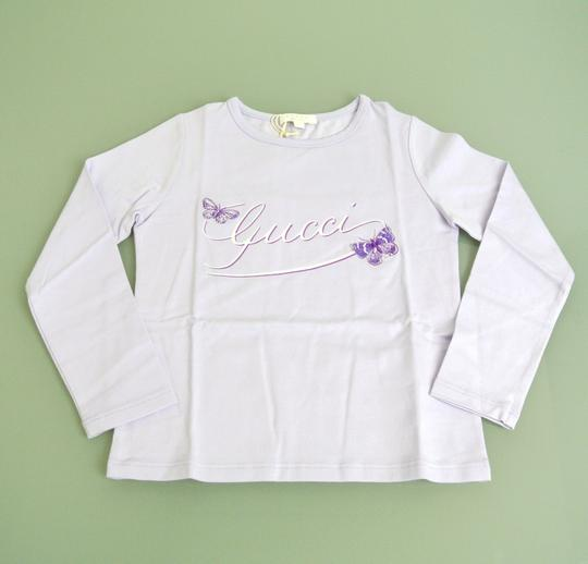 Gucci Lilac Kids Long Sleeve Top T-shirt W/Butterfly Embroidery 4 258571 Groomsman Gift