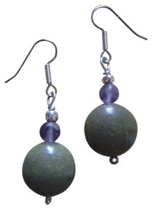 Handmade NEW Handmade Genuine Gemstone AMETHYST and SERPENTINE Beaded Earrings Buy3Get1FREE!