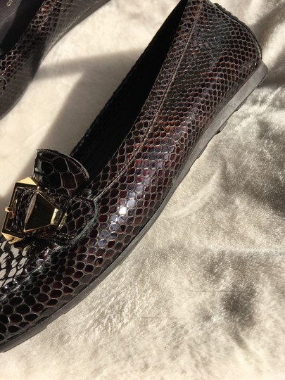 Stuart Weitzman Crocodile Leather Loafer Gold Hardware Brown Flats