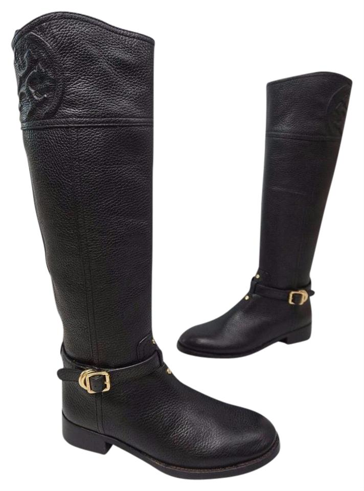 9b2abd99e89e Tory Burch Black Marlene Riding Zipper Leather Boots Booties Size US ...