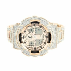 G-Shock Rose Gold Tone G Shock Watch Cz Iced Out Digital Analog Ga100gd-9a