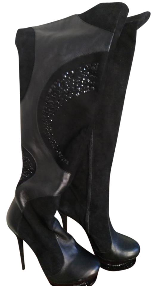 Dora Abodi Black with New In Box Tall with Black Swarovski Encrusted Platfo Boots/Booties 41519e