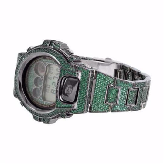 G-Shock Full Iced Out Mens G Shock Green Cubic Zirconia Dw6900 Gshock