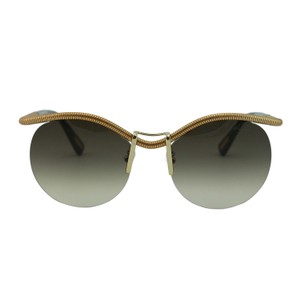 Lanvin New Lanvin SLN050 SNT Round Semi-Rimless Gold Metal Sunglasses