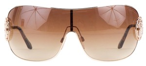Roberto Cavalli Roberto Cavalli gold-tone rimmed over-sized 'Menkar' shield sunglasses