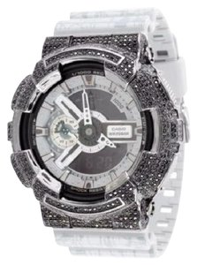 G-Shock Mens G Shock Ga110sl-8a Gray Silicon Band Watch Black Iced Bezel