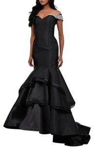 Jovani Jeweled Off Mermaid Tiered Mermaid Dress