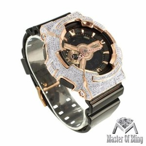 G-Shock Mens G Shock Rose Gold Color Ga110gd Iced Out Face Rubber Band