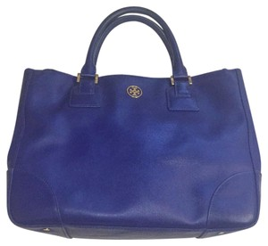Tory Burch Tote in cobalt blue with orange interior