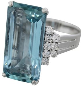 Vintage 14k aquamarine diamond ring