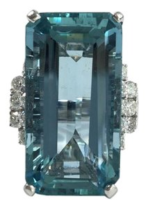 Other Vintage Art Deco style Certified unheated aquamarine & diamond ring