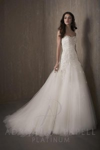 Adrianna Papell Ivory Lace & Tulle 31022 Traditional Wedding Dress Size 14 (L)