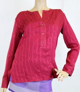 Gucci Long Sleeve Silk Top Red