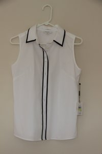 Calvin Klein White Non-iron Top White/Black