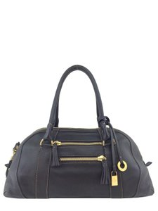 Loro Piana Gold Hardware Logo Satchel in Brown