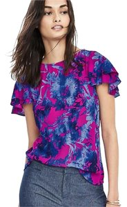 Banana Republic Top fuchsia navy print