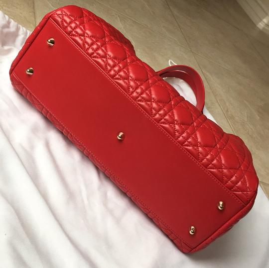 Dior Soft Rouge Vif Shopping Tote in Red
