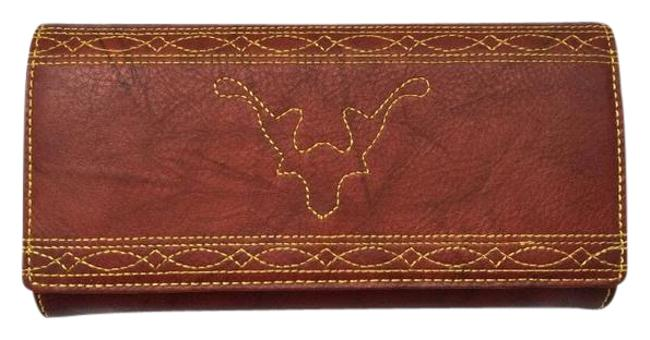 Item - Red Campus Stitch Italian Leather Trifold Burnt G Wallet