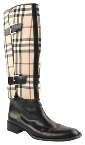 Burberry Leather Rare Black with Plaid removal Covers Boots