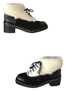 Chanel black white Boots