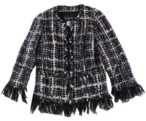 Chanel Boucle Fringe Tweed Black / white / gray / silver Jacket