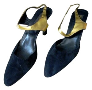 Donna Karan Vintage Heels Suede Gold Leather Blue/Gold Formal