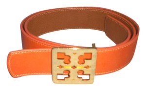 Tory Burch Tory Burch Reversible Orange/Brown Leather logo Belt