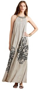 Gray Maxi Dress by Anthropologie Floral Bohemian Embroidered