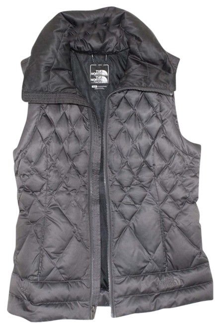 Item - Grey Down with Pull-out Hood Vest Size 6 (S)