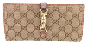 Gucci Gucci Brown Signature Canvas and Distressed Leather Piston Lock Wallet