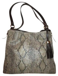 Stella & Dot Snakeskin Tote in tan & brown