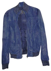 Vintage DeLuxe Suede Made In Italy Bomber Dusty Blue Leather Jacket