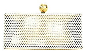 Reece Hudson Perforated Minaudiere Evening Metal gold x white Clutch