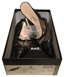 Chanel $470 Patent Leather Cap Toe Mesh Sides Bow + Box & Dustbag 35 Black Mules
